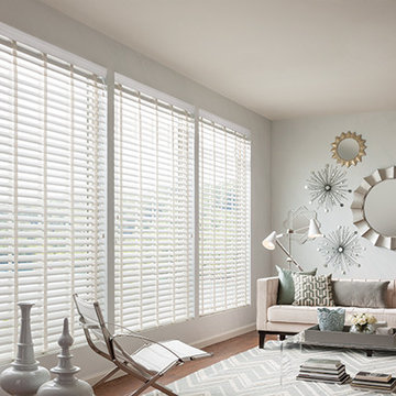 WHITE FAUX WOOD BLINDS - CLOTH TAPE BLINDS - Graber Wood Blinds