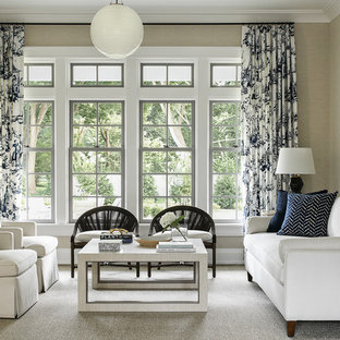 Living Room Farmhouse Formal Carpeted And Gray Floor Idea In New York With
