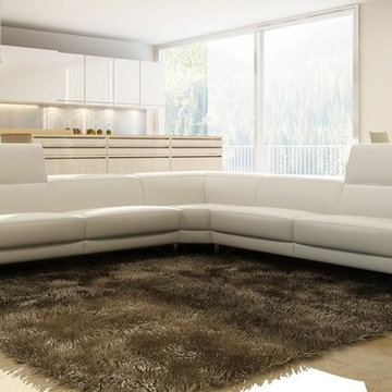 White Italian Leather Sectional Sofa with Adjustable Headrests