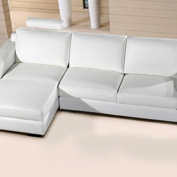 White Leather Compact Sectional Sofa with Chaise - With adjustable headrest and high quality leather combined with matching material, this sectional sofa will add comfort and style to your living room space. Sleek and functional, this sectional sofa fits elegantly almost in any space.