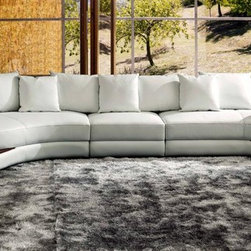 White Leather Contemporary Sectional Sofa with Wooden Trim - Features: