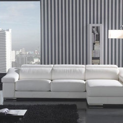White Leather L Shape Sectional Sofa with Chaise - This gorgeous White Leather Sectional Sofa with Stainless Steel Legs is an Italian style sectional sofa made of white leather and stands on steel legs. With wood frame support and well-cushioned seat, back and armrest, this sectional sofa is comfort and stable. And with adjustable headrest and high quality leather compound with matching material, this sectional sofa will add comfort and style to your living room space. Sleek and functional, this sectional sofa fits elegantly almost in any space.