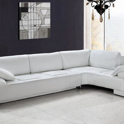 White Leather Modern Sectional Sofa - Features: