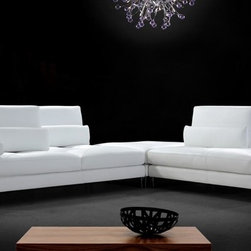 White Leather Sectional Sofa with Adjustable Backrests - Features: