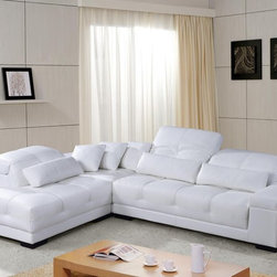 White Leather Sectional Sofa with Adjustable Headrests - Clean lines and button-tufted design add style to the appeal of this sectional. Thick padding encased in sumptuous top grain Italian leather upholstery and adjustable headrests ensures that this sofa delivers what it promises.