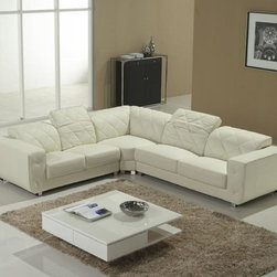 White Leather Sectional Sofa with Adjustable Headrests - The swanky and alluring demeanor of this sofa makes for the perfect addition to your living room. Its sophisticated L-shaped design grabs ones notice instantly. Its bright and rejuvenating white leather cover defines its class and grandeur. Being humbly raised the couch treats you with utmost congeniality. The adjustable headrests add on to its traits. With real leather in the front and high quality leather match material on the back this one has the perfect appeal for your contemporary city loft. The extra padding is for added comfort. Firmly held by its tenacious metal legs this sofa has an obstinate and dignified outlook. A white leather sofa that features a sleek L shaped design to fit in any room and create many different looks. The headrests of this sofa are adjustable and the cushions feature extra padding to give extra comfort.