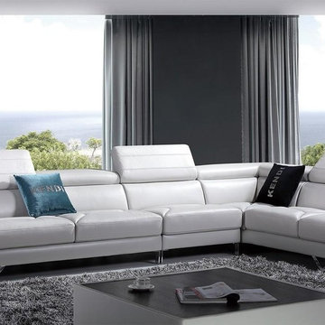 White Leather Sectional Sofa with Adjustable Headrests