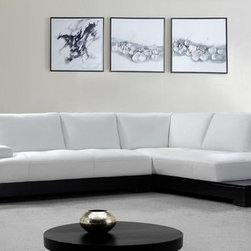 White Leather Sectional Sofa with Built-in End Tables - Features: