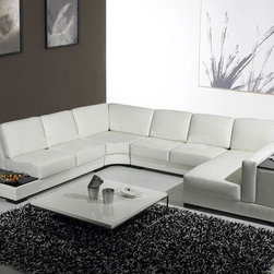 White Leather U Shaped Sectional Sofa with Storage - Features: