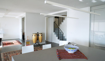 White Minimal Open Kitchen looking into Living Area