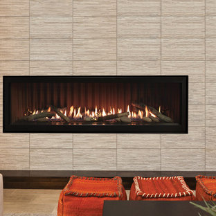 Inspiration for a mid-sized contemporary formal and open concept carpeted and beige floor living room remodel in Other with beige walls, a ribbon fireplace, a tile fireplace and no tv