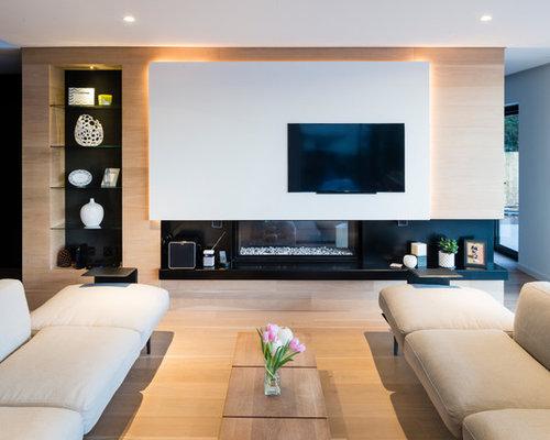 Modern Open Plan Living Room In Devon With White Walls, Light Hardwood  Flooring, A