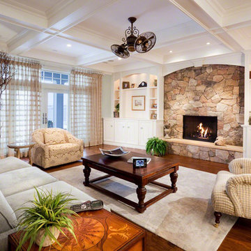 White Room with Stone Fireplace