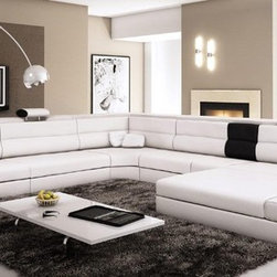 White Sectional Set with 2 Decorative Lights, Side Drawer and a Shelf - Features: