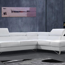White Sectional Sofa with Adjustable Headrests - Features: