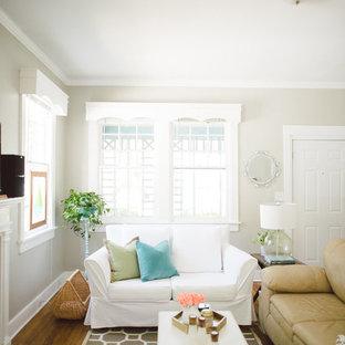 White Slipcovered Sofa + Graphic Rug