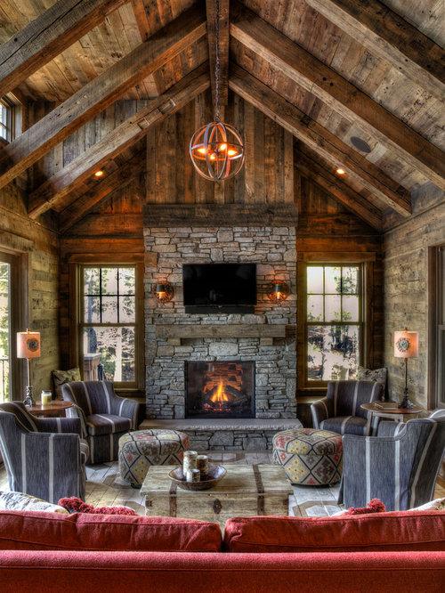Large Rustic Living Room Design Ideas Renovations Photos