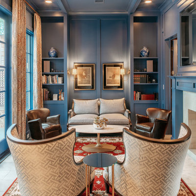 Inspiration for a large transitional enclosed gray floor living room remodel in Houston with blue walls