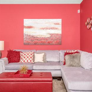 Idee per un soggiorno design di medie dimensioni e chiuso con sala formale, pareti rosse, pavimento in gres porcellanato, nessun camino e nessuna TV