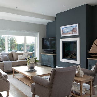 . 75 Most Popular Living Room with Black Walls and a Wall Mounted TV