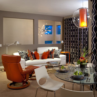 Trendy living room photo in Orange County with gray walls