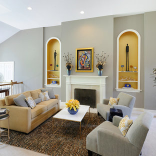 Design ideas for a medium sized traditional formal open plan living room in St Louis with grey walls, carpet, a standard fireplace, a tiled fireplace surround and no tv.