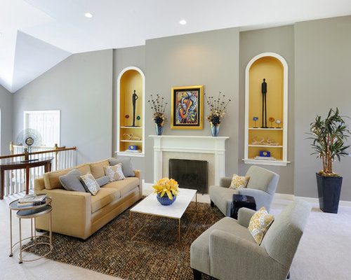Mid Sized Transitional Formal Open Concept Living Room Idea In St Louis With Gray Walls