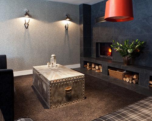 Black Slate Fireplace   Houzz