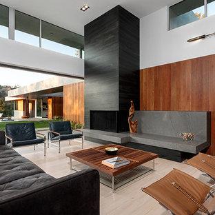 Esempio di un grande soggiorno moderno aperto con sala formale, pareti multicolore, parquet chiaro, camino bifacciale, cornice del camino in pietra e nessuna TV