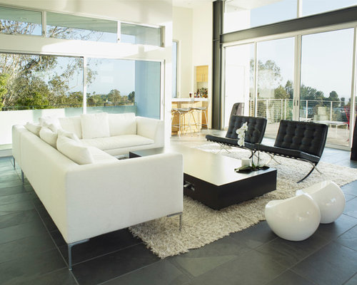 Inspiration for a modern open concept living room remodel in Los Angeles  with a bar