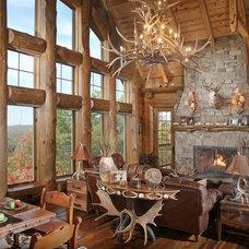 Rustic Living Room Wild Turkey Lodge great room, entry hall