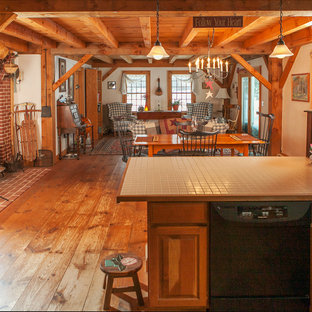 Example of a large mountain style open concept medium tone wood floor living room design in Boston with white walls and a wood stove