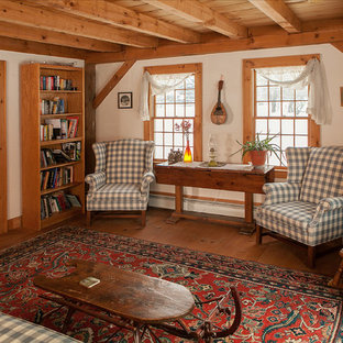 Living room - large cottage living room idea in Boston