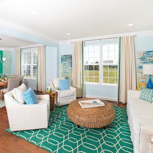 Living room - beach style formal medium tone wood floor living room idea in Philadelphia