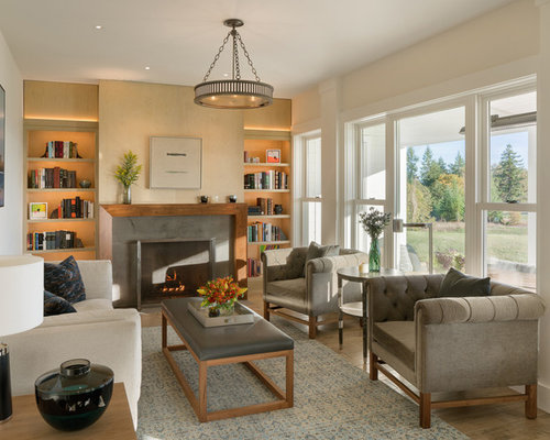 Country Living Room Library Photo In Portland With A Standard Fireplace And  A Concrete Fireplace
