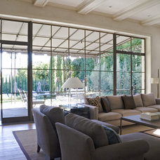 Transitional Living Room by Studio William Hefner