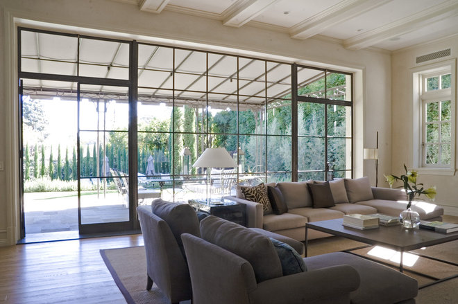 Transitional Living Room by Studio William Hefner