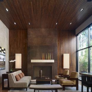 Offenes Modernes Wohnzimmer mit Kamin in Los Angeles