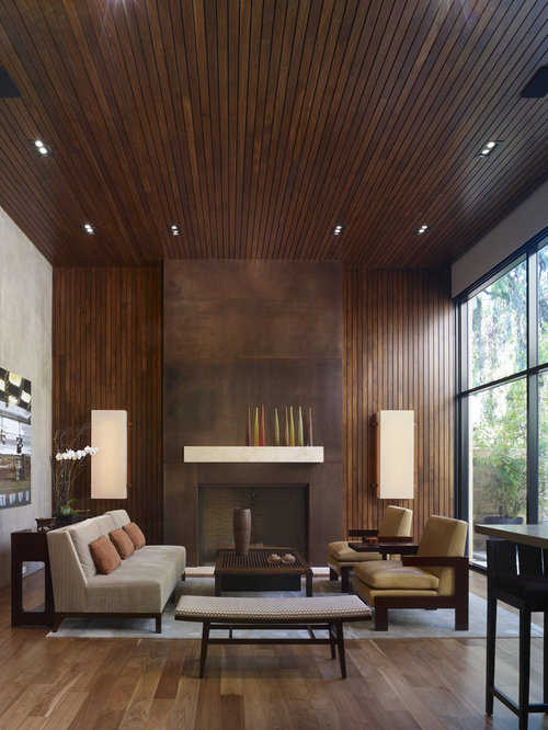 Minimalist Open Concept Living Room Photo In Los Angeles With A Standard  Fireplace Part 90