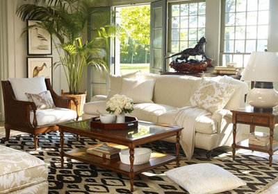 Tropical Living Room by Williams-Sonoma Home