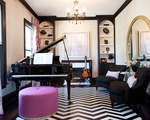 Eclectic enclosed living room photo in Baltimore with a music area and black floors