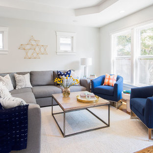 Living room - large transitional formal and open concept medium tone wood floor and brown floor living room idea in San Francisco with white walls