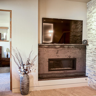 Mid-sized urban formal and open concept porcelain floor and beige floor living room photo in Denver with white walls, a standard fireplace, a metal fireplace and a wall-mounted tv