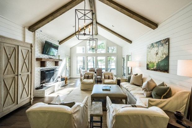 Farmhouse Living Room by Holland Homes LLC