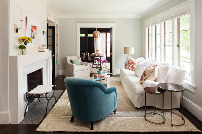 Transitional Living Room by Terracotta Design Build