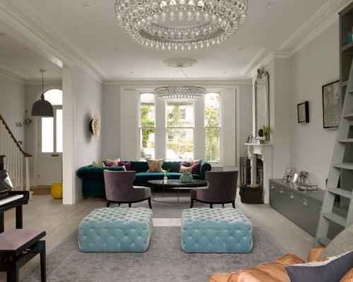 Design Ideas For A Victorian Living Room In London With Grey Walls