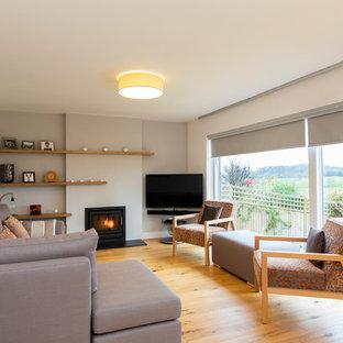 ハンプシャーの小さいコンテンポラリースタイルのおしゃれなLDK (グレーの壁、淡色無垢フローリング、薪ストーブ、漆喰の暖炉まわり、据え置き型テレビ) の写真