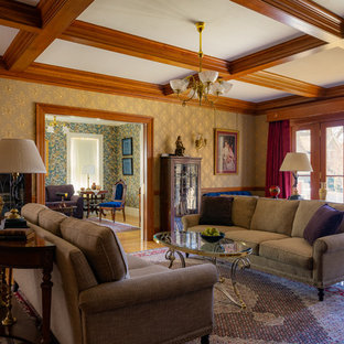 Inspiration For A Victorian Medium Tone Wood Floor And Brown Living Room Remodel In Boston