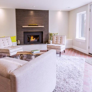 Mid-sized contemporary open concept living room in Toronto with beige walls, brick floors, a standard fireplace, a tile fireplace surround and no tv.