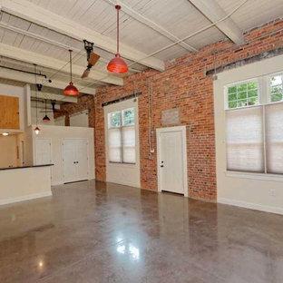 Diseño de salón tipo loft, urbano, pequeño, sin chimenea y televisor, con paredes beige y suelo de cemento